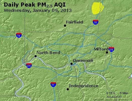 Peak Particles PM<sub>2.5</sub> (24-hour) - http://files.airnowtech.org/airnow/2013/20130109/peak_pm25_cincinnati_oh.jpg
