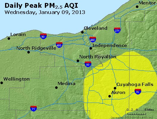Peak Particles PM<sub>2.5</sub> (24-hour) - http://files.airnowtech.org/airnow/2013/20130109/peak_pm25_cleveland_oh.jpg
