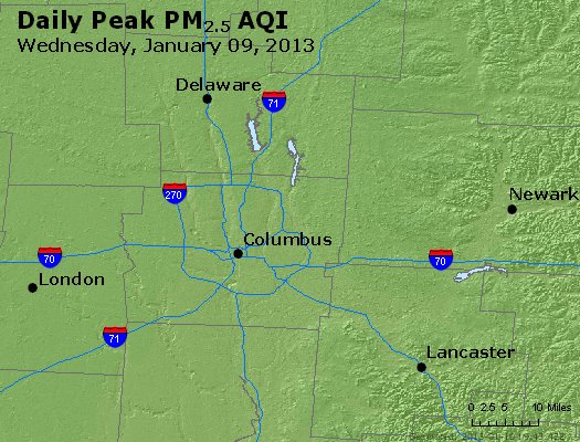 Peak Particles PM<sub>2.5</sub> (24-hour) - http://files.airnowtech.org/airnow/2013/20130109/peak_pm25_columbus_oh.jpg