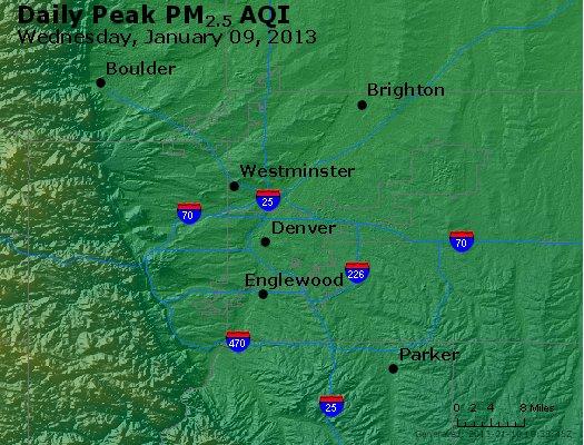 Peak Particles PM<sub>2.5</sub> (24-hour) - http://files.airnowtech.org/airnow/2013/20130109/peak_pm25_denver_co.jpg