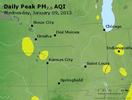 Peak Particles PM<sub>2.5</sub> (24-hour) - http://files.airnowtech.org/airnow/2013/20130109/peak_pm25_ia_il_mo.jpg
