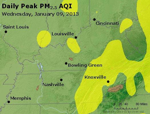 Peak Particles PM<sub>2.5</sub> (24-hour) - http://files.airnowtech.org/airnow/2013/20130109/peak_pm25_ky_tn.jpg