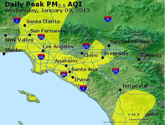 Peak Particles PM<sub>2.5</sub> (24-hour) - http://files.airnowtech.org/airnow/2013/20130109/peak_pm25_losangeles_ca.jpg