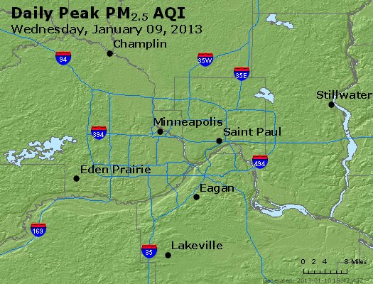 Peak Particles PM<sub>2.5</sub> (24-hour) - http://files.airnowtech.org/airnow/2013/20130109/peak_pm25_minneapolis_mn.jpg