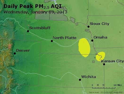 Peak Particles PM<sub>2.5</sub> (24-hour) - http://files.airnowtech.org/airnow/2013/20130109/peak_pm25_ne_ks.jpg
