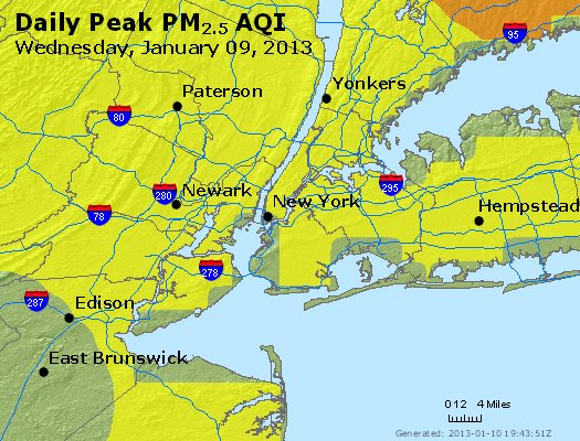 Peak Particles PM<sub>2.5</sub> (24-hour) - http://files.airnowtech.org/airnow/2013/20130109/peak_pm25_newyork_ny.jpg