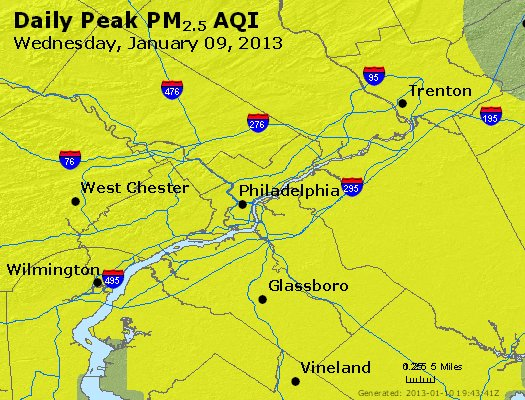 Peak Particles PM<sub>2.5</sub> (24-hour) - http://files.airnowtech.org/airnow/2013/20130109/peak_pm25_philadelphia_pa.jpg