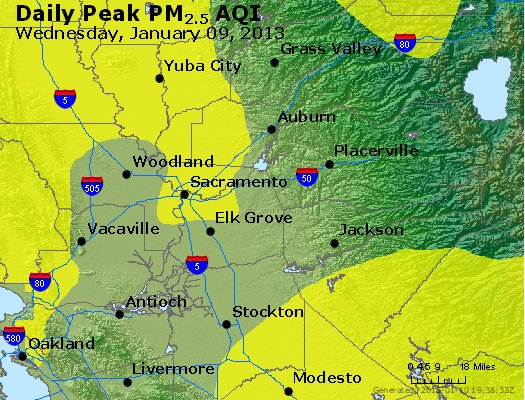 Peak Particles PM<sub>2.5</sub> (24-hour) - http://files.airnowtech.org/airnow/2013/20130109/peak_pm25_sacramento_ca.jpg