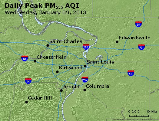 Peak Particles PM<sub>2.5</sub> (24-hour) - http://files.airnowtech.org/airnow/2013/20130109/peak_pm25_stlouis_mo.jpg