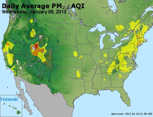 Peak Particles PM<sub>2.5</sub> (24-hour) - http://files.airnowtech.org/airnow/2013/20130109/peak_pm25_usa.jpg