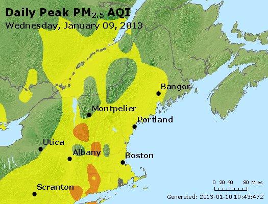 Peak Particles PM<sub>2.5</sub> (24-hour) - http://files.airnowtech.org/airnow/2013/20130109/peak_pm25_vt_nh_ma_ct_ri_me.jpg