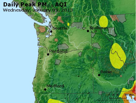 Peak Particles PM<sub>2.5</sub> (24-hour) - http://files.airnowtech.org/airnow/2013/20130109/peak_pm25_wa_or.jpg