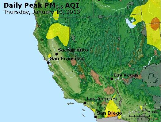 Peak Particles PM<sub>2.5</sub> (24-hour) - http://files.airnowtech.org/airnow/2013/20130110/peak_pm25_ca_nv.jpg