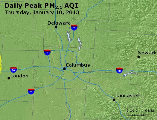 Peak Particles PM<sub>2.5</sub> (24-hour) - http://files.airnowtech.org/airnow/2013/20130110/peak_pm25_columbus_oh.jpg