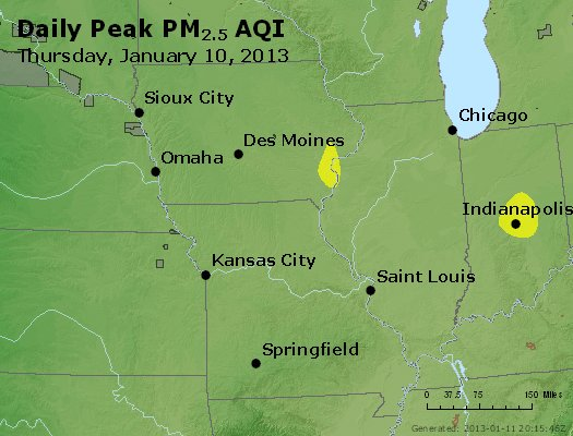Peak Particles PM<sub>2.5</sub> (24-hour) - http://files.airnowtech.org/airnow/2013/20130110/peak_pm25_ia_il_mo.jpg