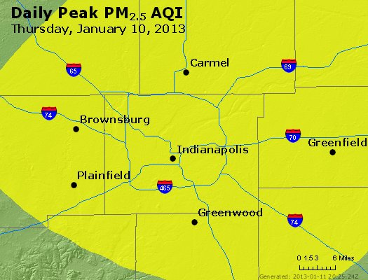 Peak Particles PM<sub>2.5</sub> (24-hour) - http://files.airnowtech.org/airnow/2013/20130110/peak_pm25_indianapolis_in.jpg