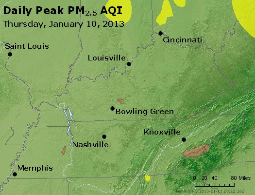 Peak Particles PM<sub>2.5</sub> (24-hour) - http://files.airnowtech.org/airnow/2013/20130110/peak_pm25_ky_tn.jpg