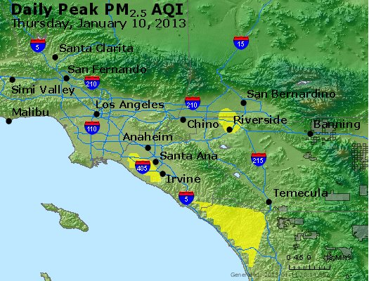 Peak Particles PM<sub>2.5</sub> (24-hour) - http://files.airnowtech.org/airnow/2013/20130110/peak_pm25_losangeles_ca.jpg