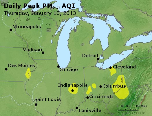 Peak Particles PM<sub>2.5</sub> (24-hour) - http://files.airnowtech.org/airnow/2013/20130110/peak_pm25_mi_in_oh.jpg