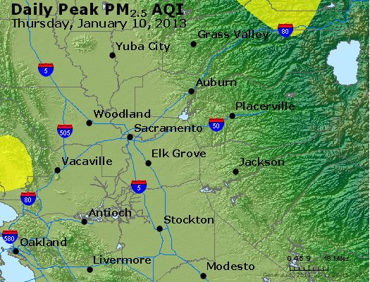Peak Particles PM<sub>2.5</sub> (24-hour) - http://files.airnowtech.org/airnow/2013/20130110/peak_pm25_sacramento_ca.jpg