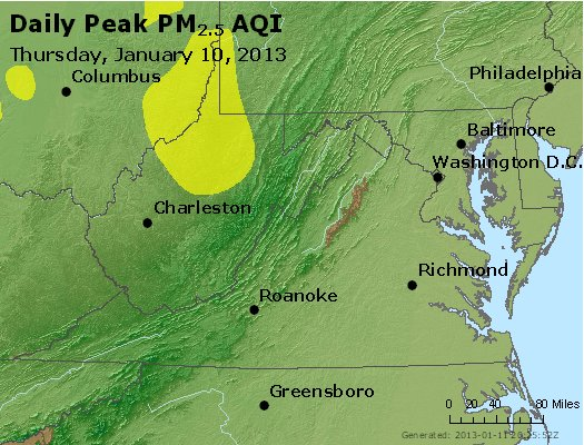 Peak Particles PM<sub>2.5</sub> (24-hour) - http://files.airnowtech.org/airnow/2013/20130110/peak_pm25_va_wv_md_de_dc.jpg