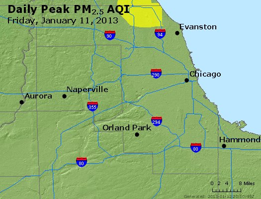 Peak Particles PM<sub>2.5</sub> (24-hour) - http://files.airnowtech.org/airnow/2013/20130111/peak_pm25_chicago_il.jpg