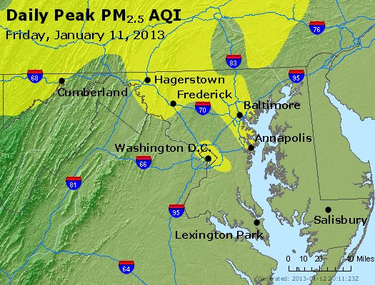 Peak Particles PM<sub>2.5</sub> (24-hour) - http://files.airnowtech.org/airnow/2013/20130111/peak_pm25_maryland.jpg