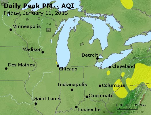 Peak Particles PM<sub>2.5</sub> (24-hour) - http://files.airnowtech.org/airnow/2013/20130111/peak_pm25_mi_in_oh.jpg