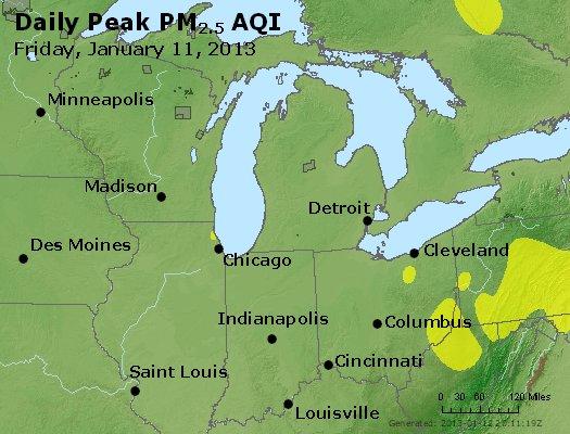 Peak Particles PM<sub>2.5</sub> (24-hour) - http://files.airnowtech.org/airnow/2013/20130111/peak_pm25_mi_in_oh.jpg