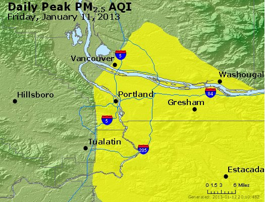 Peak Particles PM<sub>2.5</sub> (24-hour) - http://files.airnowtech.org/airnow/2013/20130111/peak_pm25_portland_or.jpg