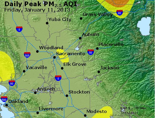 Peak Particles PM<sub>2.5</sub> (24-hour) - http://files.airnowtech.org/airnow/2013/20130111/peak_pm25_sacramento_ca.jpg