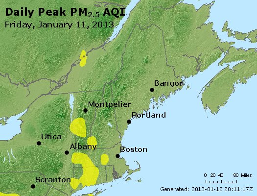 Peak Particles PM<sub>2.5</sub> (24-hour) - http://files.airnowtech.org/airnow/2013/20130111/peak_pm25_vt_nh_ma_ct_ri_me.jpg