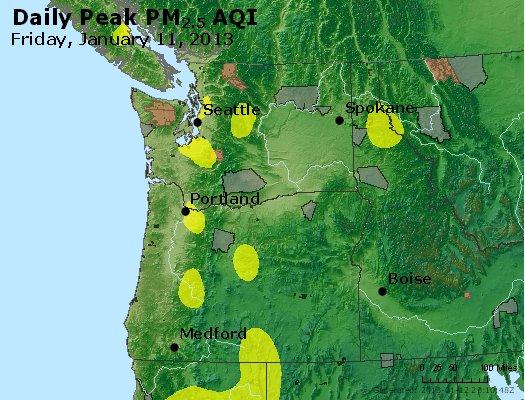 Peak Particles PM<sub>2.5</sub> (24-hour) - http://files.airnowtech.org/airnow/2013/20130111/peak_pm25_wa_or.jpg
