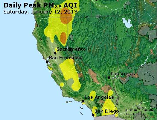 Peak Particles PM<sub>2.5</sub> (24-hour) - http://files.airnowtech.org/airnow/2013/20130112/peak_pm25_ca_nv.jpg