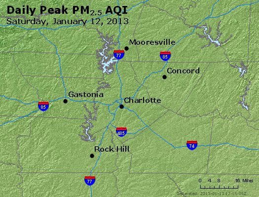Peak Particles PM<sub>2.5</sub> (24-hour) - http://files.airnowtech.org/airnow/2013/20130112/peak_pm25_charlotte_nc.jpg
