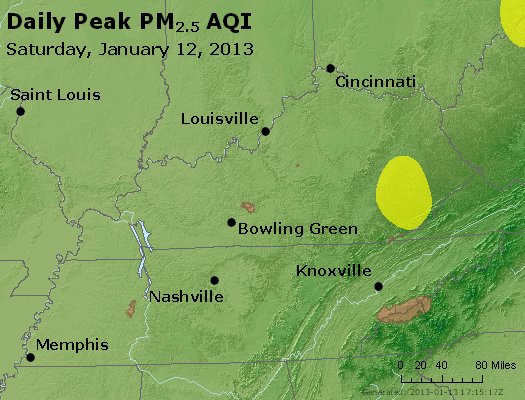 Peak Particles PM<sub>2.5</sub> (24-hour) - http://files.airnowtech.org/airnow/2013/20130112/peak_pm25_ky_tn.jpg