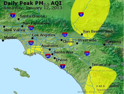 Peak Particles PM<sub>2.5</sub> (24-hour) - http://files.airnowtech.org/airnow/2013/20130112/peak_pm25_losangeles_ca.jpg
