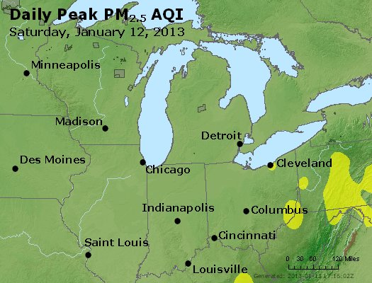 Peak Particles PM<sub>2.5</sub> (24-hour) - http://files.airnowtech.org/airnow/2013/20130112/peak_pm25_mi_in_oh.jpg