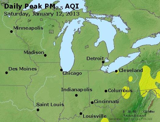 Peak Particles PM<sub>2.5</sub> (24-hour) - http://files.airnowtech.org/airnow/2013/20130112/peak_pm25_mi_in_oh.jpg