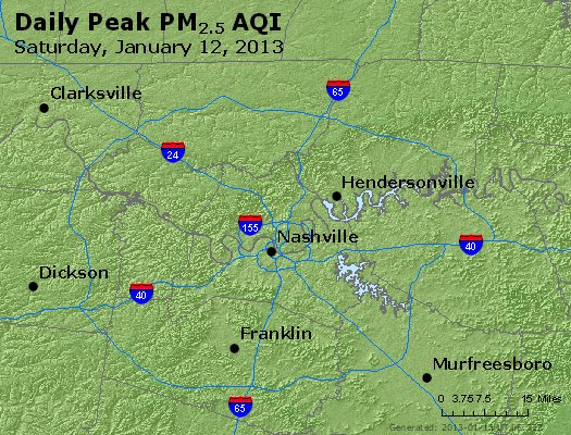 Peak Particles PM<sub>2.5</sub> (24-hour) - http://files.airnowtech.org/airnow/2013/20130112/peak_pm25_nashville_tn.jpg
