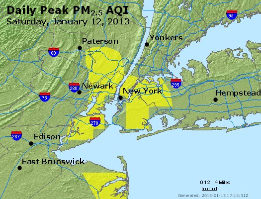 Peak Particles PM<sub>2.5</sub> (24-hour) - http://files.airnowtech.org/airnow/2013/20130112/peak_pm25_newyork_ny.jpg