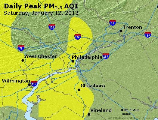 Peak Particles PM<sub>2.5</sub> (24-hour) - http://files.airnowtech.org/airnow/2013/20130112/peak_pm25_philadelphia_pa.jpg