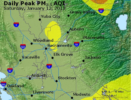 Peak Particles PM<sub>2.5</sub> (24-hour) - http://files.airnowtech.org/airnow/2013/20130112/peak_pm25_sacramento_ca.jpg