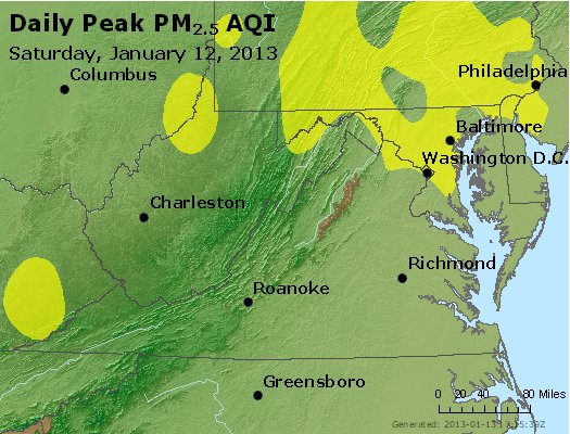 Peak Particles PM<sub>2.5</sub> (24-hour) - http://files.airnowtech.org/airnow/2013/20130112/peak_pm25_va_wv_md_de_dc.jpg