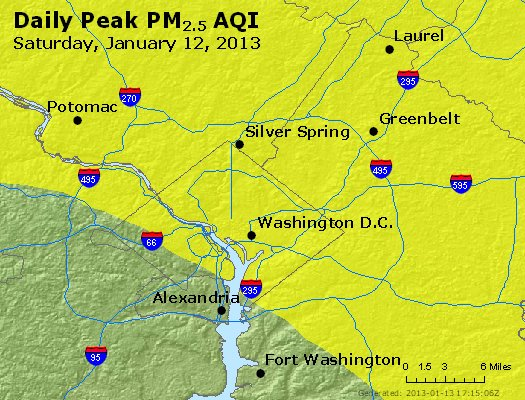 Peak Particles PM<sub>2.5</sub> (24-hour) - http://files.airnowtech.org/airnow/2013/20130112/peak_pm25_washington_dc.jpg