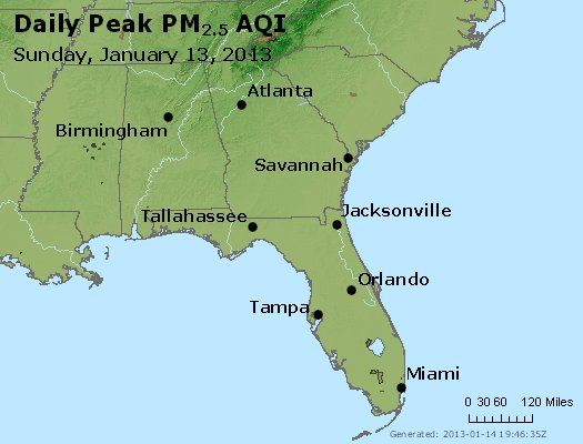 Peak Particles PM<sub>2.5</sub> (24-hour) - http://files.airnowtech.org/airnow/2013/20130113/peak_pm25_al_ga_fl.jpg