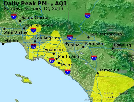 Peak Particles PM<sub>2.5</sub> (24-hour) - http://files.airnowtech.org/airnow/2013/20130113/peak_pm25_losangeles_ca.jpg