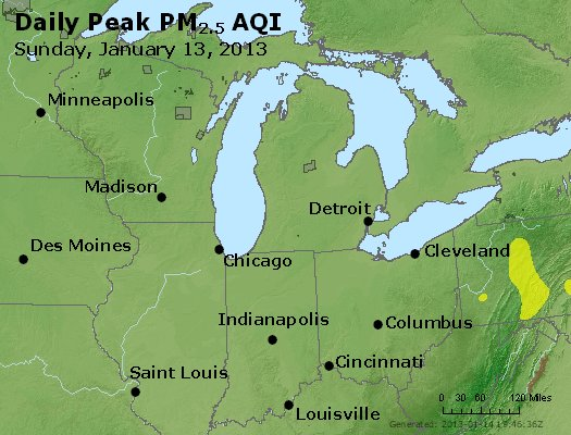Peak Particles PM<sub>2.5</sub> (24-hour) - http://files.airnowtech.org/airnow/2013/20130113/peak_pm25_mi_in_oh.jpg