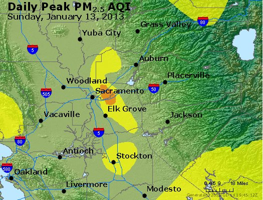 Peak Particles PM<sub>2.5</sub> (24-hour) - http://files.airnowtech.org/airnow/2013/20130113/peak_pm25_sacramento_ca.jpg