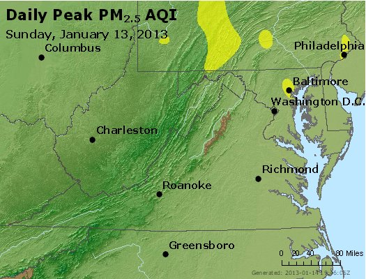 Peak Particles PM<sub>2.5</sub> (24-hour) - http://files.airnowtech.org/airnow/2013/20130113/peak_pm25_va_wv_md_de_dc.jpg